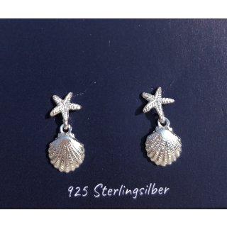 Ohrstecker SEESTERN & MUSCHEL 925 Silber
