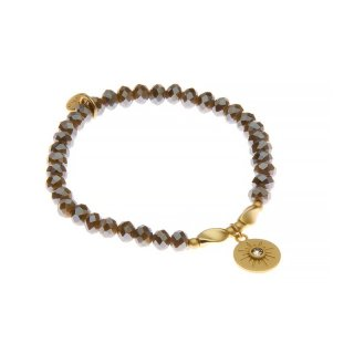 biba Armband Crystal hellbraun mit Metall gold
