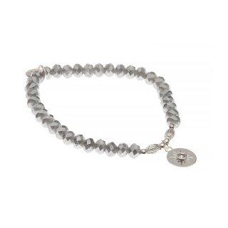 biba Armband Crystal grau mit Metall silber