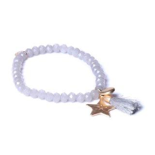biba Armband Crystal grau mit STERN gold matt