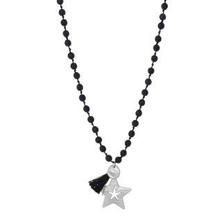 biba Kette lang Crystal schwarz STERN silberfarbig