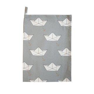 KRASILNIKOFF Geschirrtuch PAPIERBOOT GREY / TEA TOWEL PAPER BOAT GREY