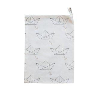 KRASILNIKOFF GESCHIRRTUCH PAPIERBOOT WHITE / TEA TOWEL PAPER BOAT WHITE
