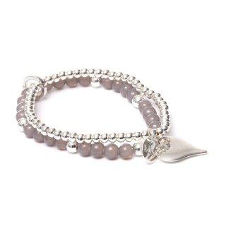biba Armband Crystal doppelt mit Anhänger HERZ