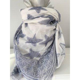 Tolles Tuch aus Viscose mit STERNEN blau