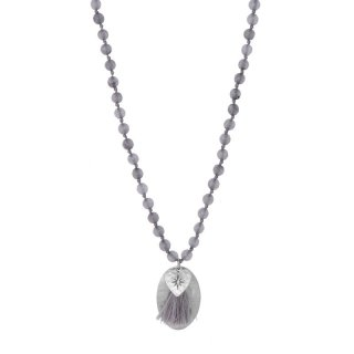 biba lange Kette Naturstein grau Anhänger silberfarbig