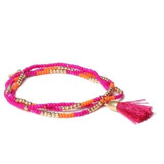 biba Armband dreifach mit Quaste pink