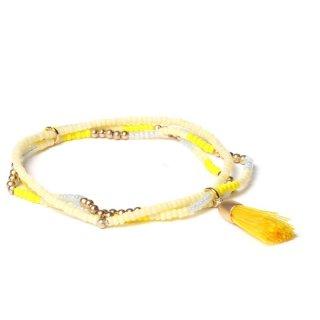 biba Armband dreifach mit Quaste gelb
