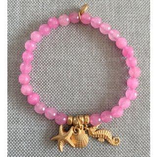biba Armband Naturstein Pink SEEPFERDCHEN MUSCHEL SEESTERN gold