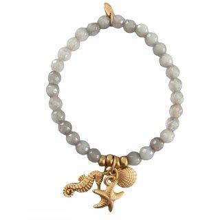 biba Armband Naturstein grau SEEPFERDCHEN MUSCHEL SEESTERN gold