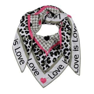 ZWILLINGSHERZ Dreieckstuch LOVE IS LOVE mit Baumwolle KHAKI