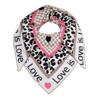 ZWILLINGSHERZ Dreieckstuch LOVE IS LOVE mit Baumwolle BEIGE