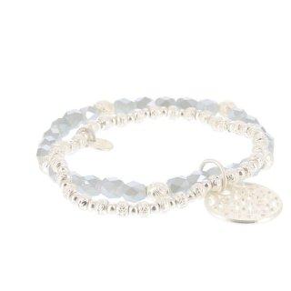 biba Armband Crystal grau mit Metall silberfarben