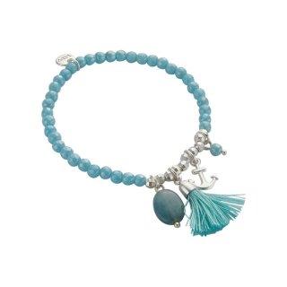 biba Armband Naturstein hellblau ANKER silberfarbig