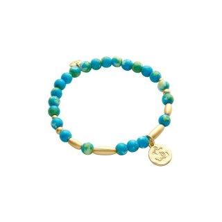 biba Armband Naturstein türkis ANKER goldfarbig