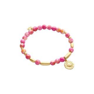 biba Armband Naturstein pink SONNE goldfarbig