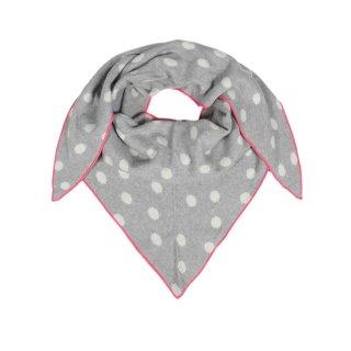 ZWILLINGSHERZ Dreieckstuch Punkte HELLGRAU mit Rand pink