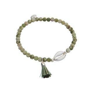 biba Armband Naturstein grün Muschel silber
