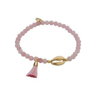 biba Armband Naturstein rosa Muschel gold
