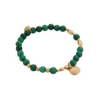 biba Armband Naturstein grün Muschel gold