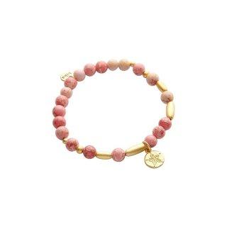 biba Armband Naturstein rosa / gold