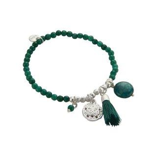 biba Armband Naturstein grün/ silber
