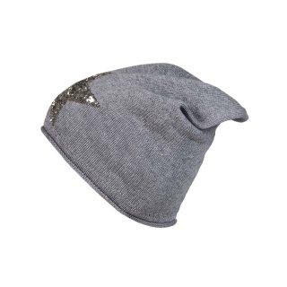ZWILLINGSHERZ Mütze mit Glitzer-Stern grau