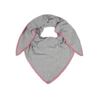ZWILLINGSHERZ Dreieckstuch BELLA in HELLGRAU mit Rand pink