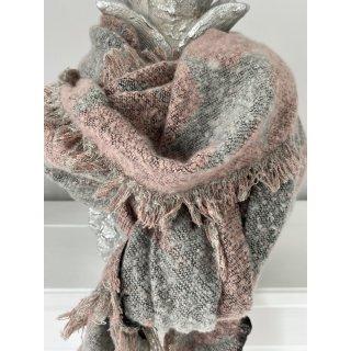 Kuscheliger Schal aus Viskose GRAU/ROSA mit STERNEN