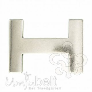 Gürtelschnalle H-LEVEL silber matt