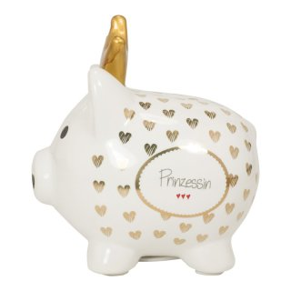 Sparschwein mit Golddruck