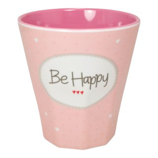 Becher klein BE HAPPY rosa