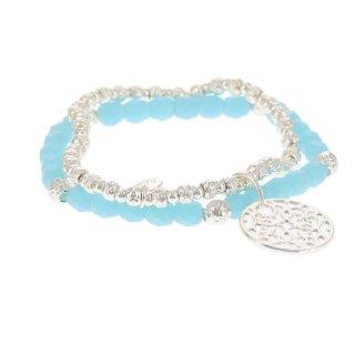 biba Armband Crystal türkis mit Metall silberfarben