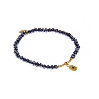 biba Armband Crystal dunkelblau mit Metall gold