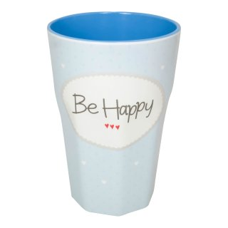 Becher groß BE HAPPY blau