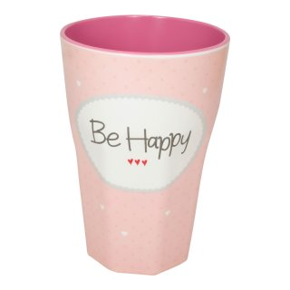 Becher groß BE HAPPY rosa